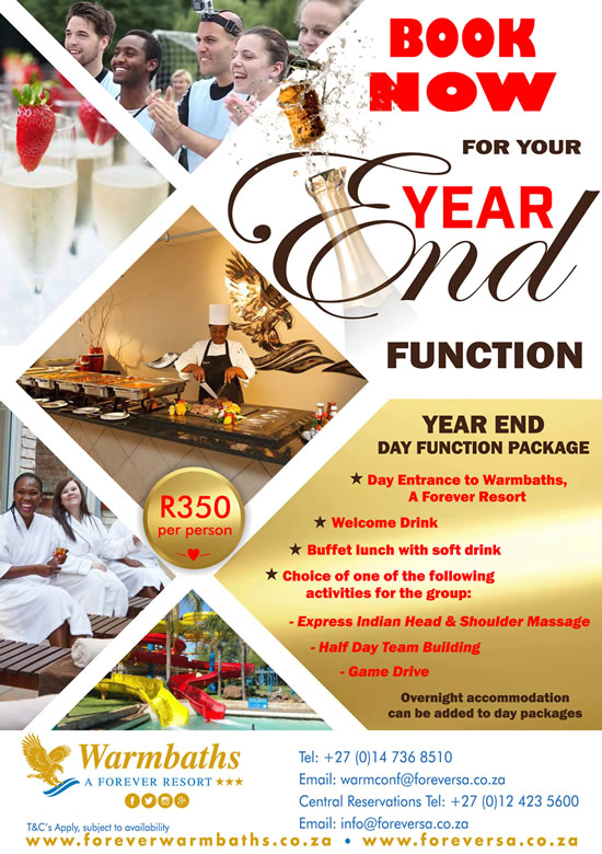 Book NOW for your WARMBATHS YEAR END FUNCTION!