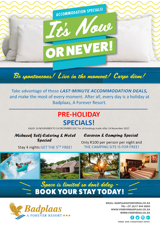 Accommodation Specials - It's Now Or Never!